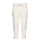 Oumy belted linen and cotton-blend straight-leg pants