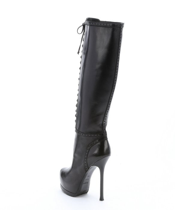 Black Leather 'Tribute 105' Lace-Up Knee-High Boots