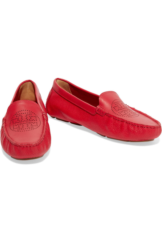 Perforated textured-leather loafers