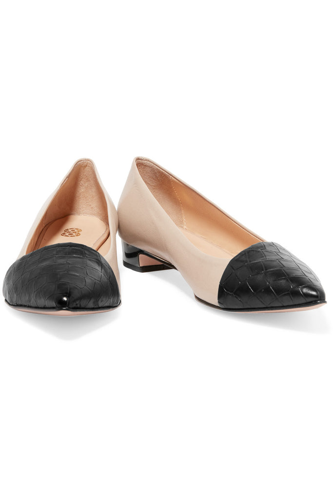 Paneled croc-effect leather flats