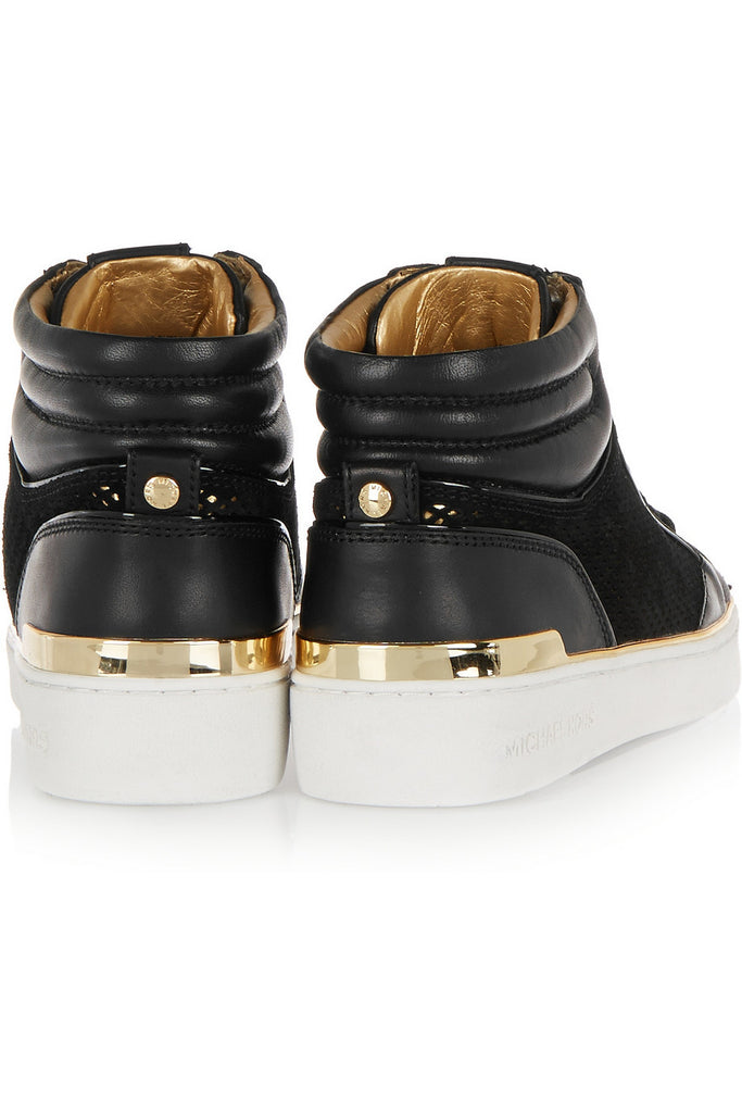 Phoebe leather and suede high top sneakers
