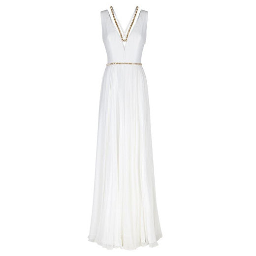 Plunge Neck Embellished Gown