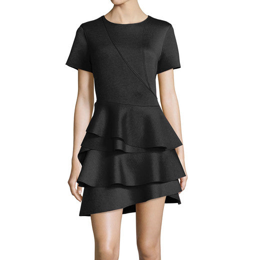 Ruffled stretch-scuba mini dress