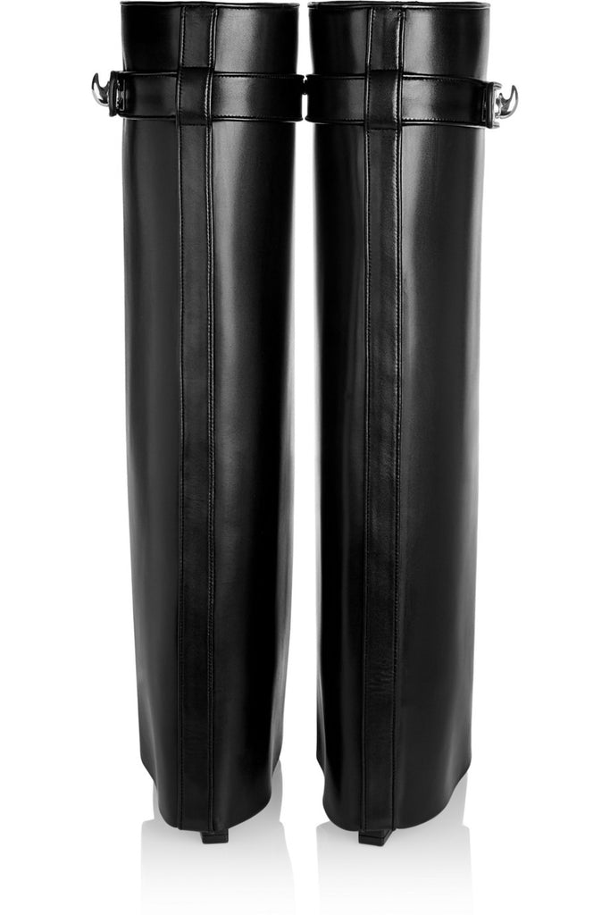 Wedge Leather Knee Boots