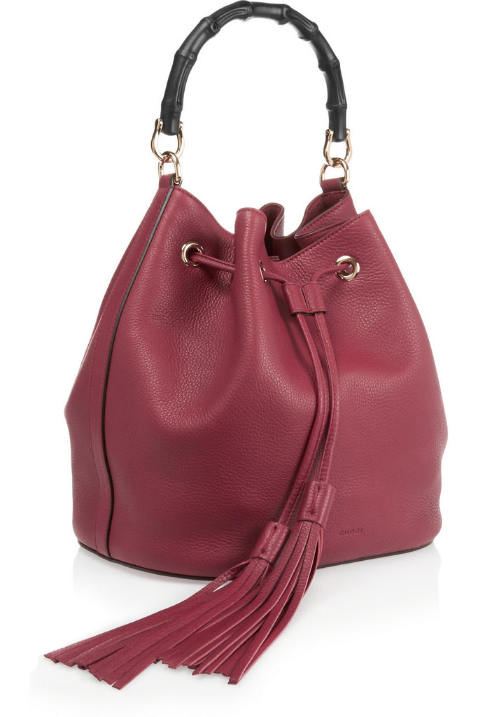 Bamboo and Leather Bucket Bag