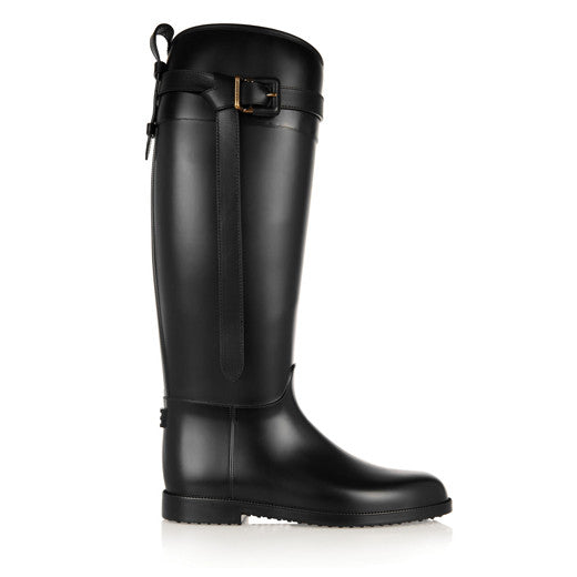 London leather-trimmed rubber rain boots