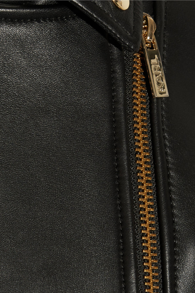 Leather Zipper-detailed Biker Jacket