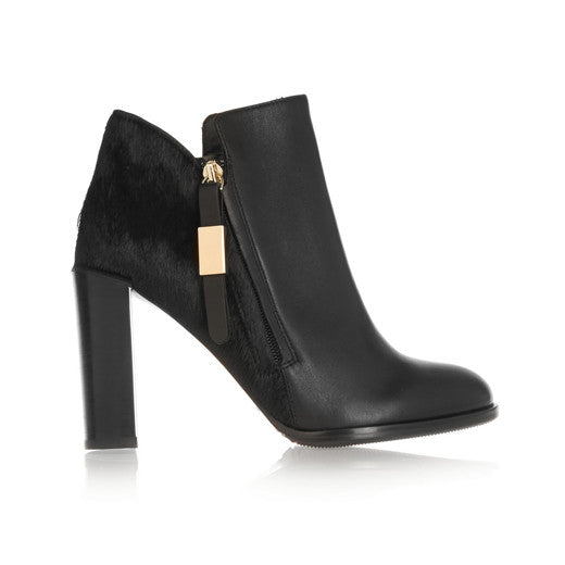 Calf hair-paneled leather ankle boots