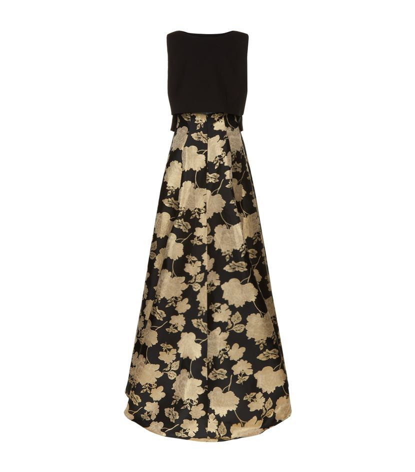 Floral Jacquard Two Piece Gown