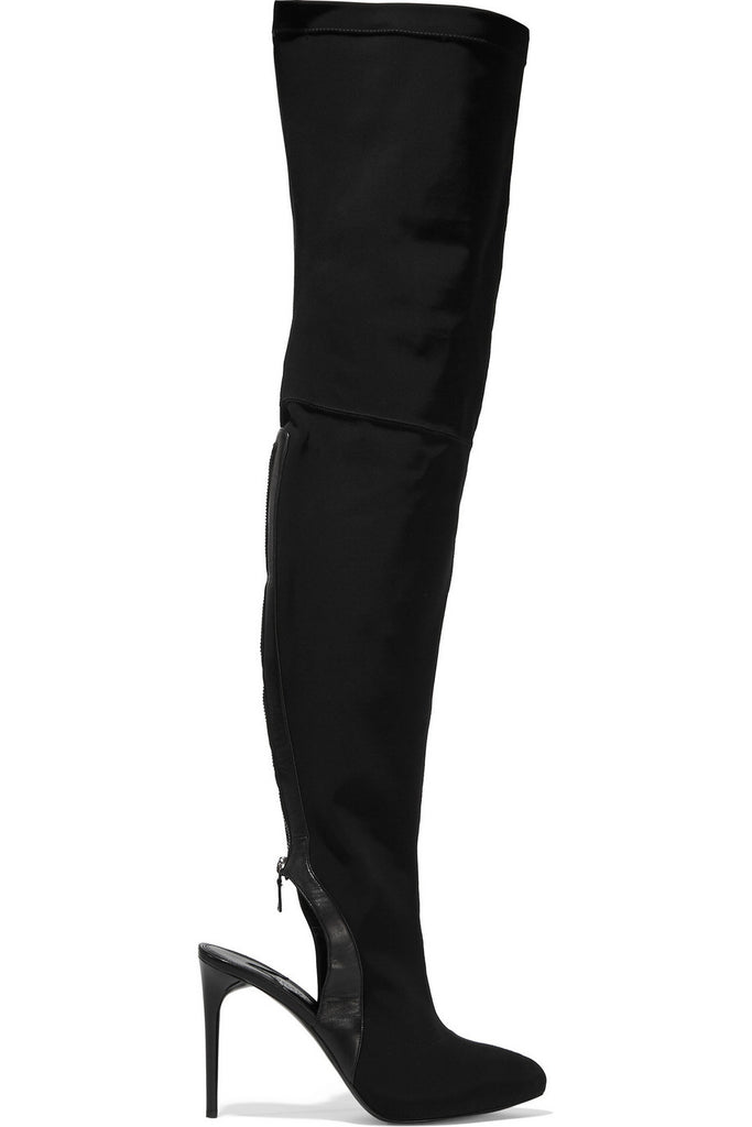 Cutout leather-trimmed stretch-twill over-the-knee boots