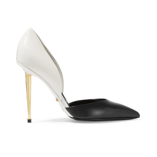 D'Orsay two-tone leather pumps