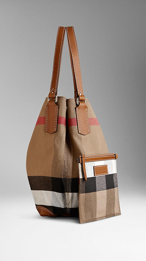 Medium Canvas Check Tote Bag
