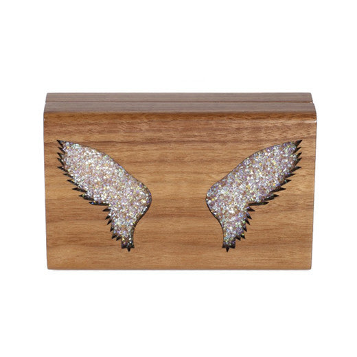 Sparkling Wings Wooden Clutch