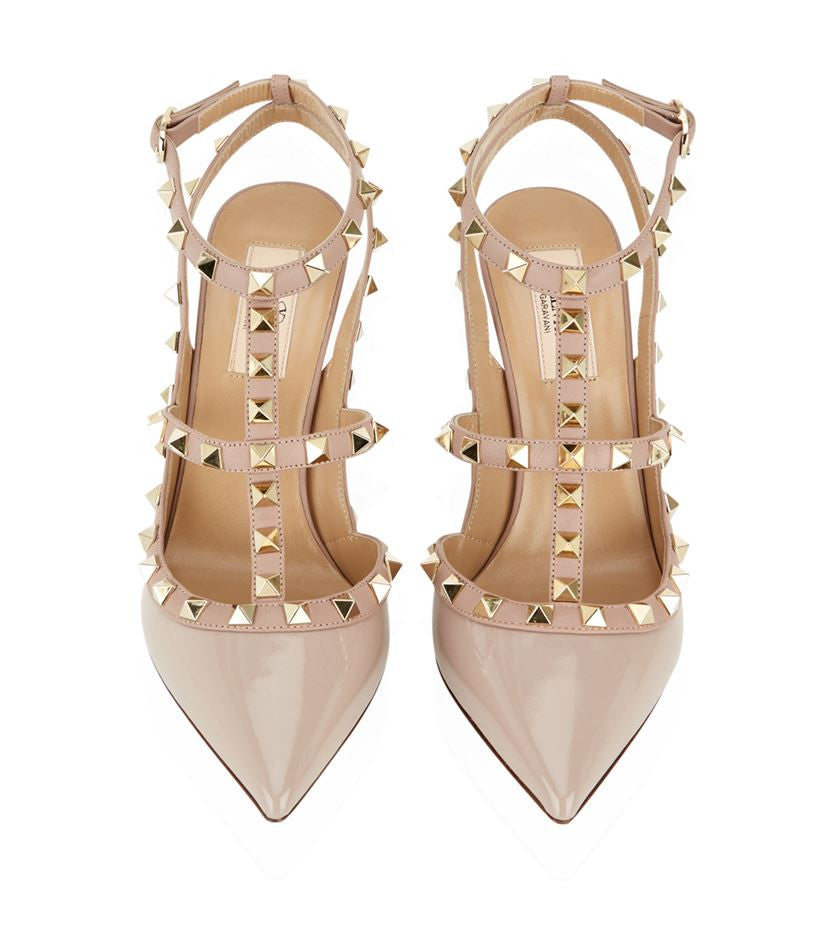 Studded T-Bar Strapped Pumps