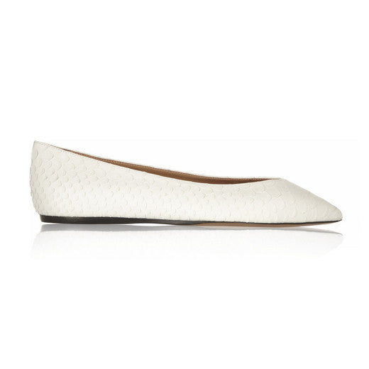 Plumy python-effect leather point-toe flats
