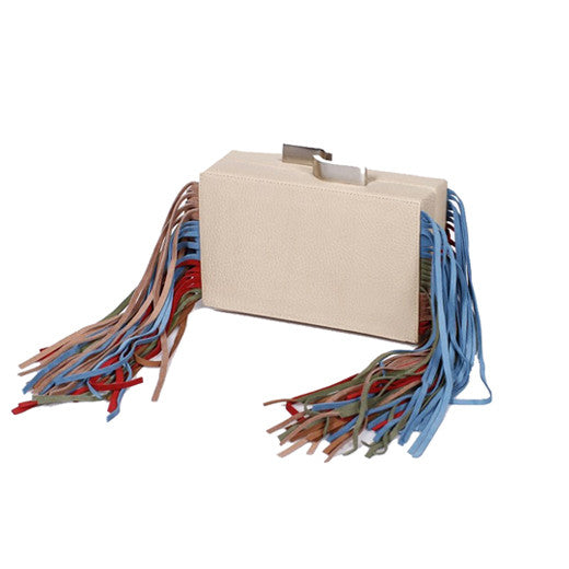 Fringes Beige Multicolored Clutch