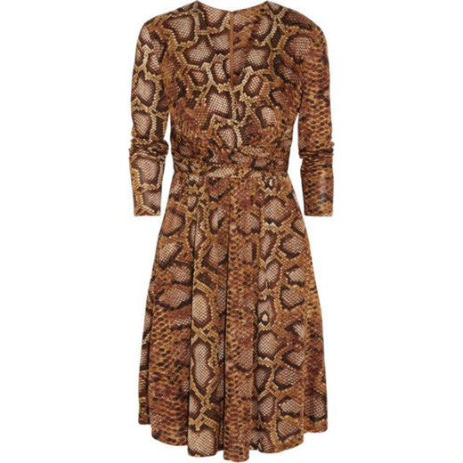 Python-print satin-jersey dress