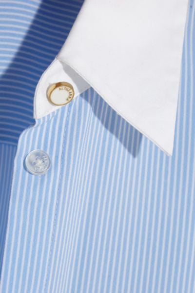 Pinstriped Contrasted White Collar Shirt