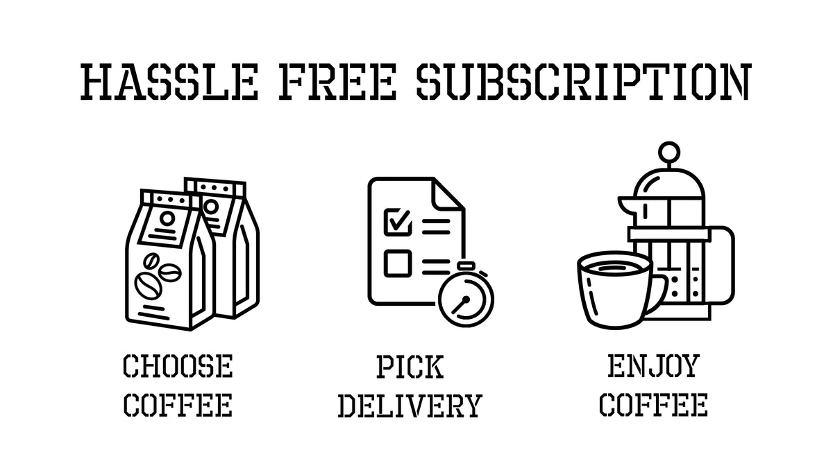 Hassle Free Subscription. Choose your coffee, pick your delivery, then enjoy your coffee.