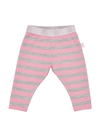 Babu Merino Wool Leggings - Pink Stripe