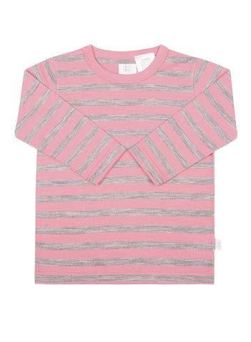Babu Merino Wool Long Sleeve Tee shirt - Pink Stripe