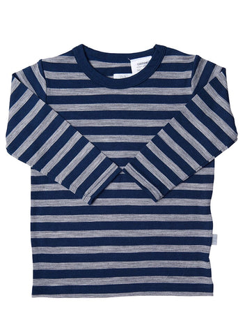 Babu Merino Wool Long Sleeve Tee shirt - Navy Stripe