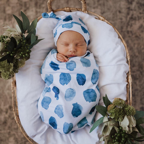 Ocean Skies | Snuggle Swaddle & Topknot Set - Baby Swaddle Sacks