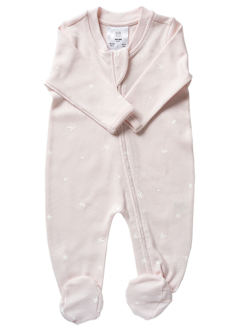 Babu Organic Cotton Long Sleeved Onesie Pink Star