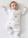 Babu Organic Cotton Long Sleeved Summer Onesie Grey Around the World