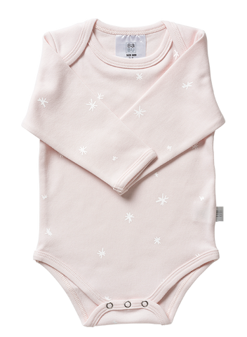 Babu Organic Cotton Long Sleeved Bodysuit - Pink Star