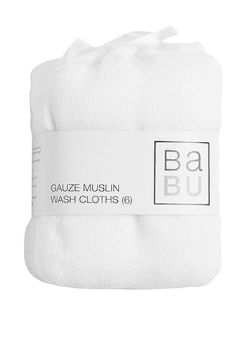 Babu Gauze Muslin Facecloth Set (6 pack) Reusable wipes