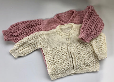 Hand Knitted Merino Wool Jumper/ Cardigan 0-3m 3-6m