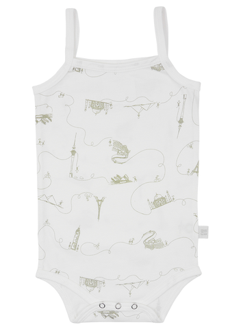 Organic Cotton Singlet Bodysuit - Grey Around the World Print