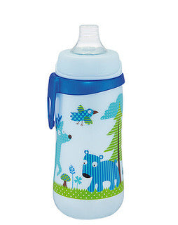 First cup 330 ml with wide neck soft spout silicone Pink & Blue Deer
