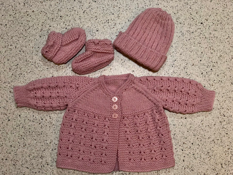 Hand Knitted Jumper/ Cardigan NB set