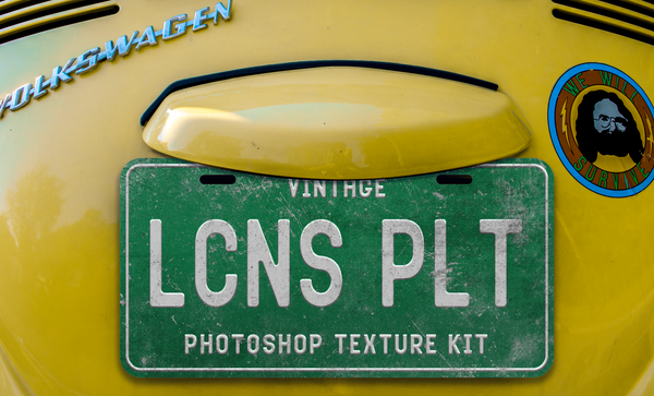 Vintage License Plate Texture Kit for Photoshop