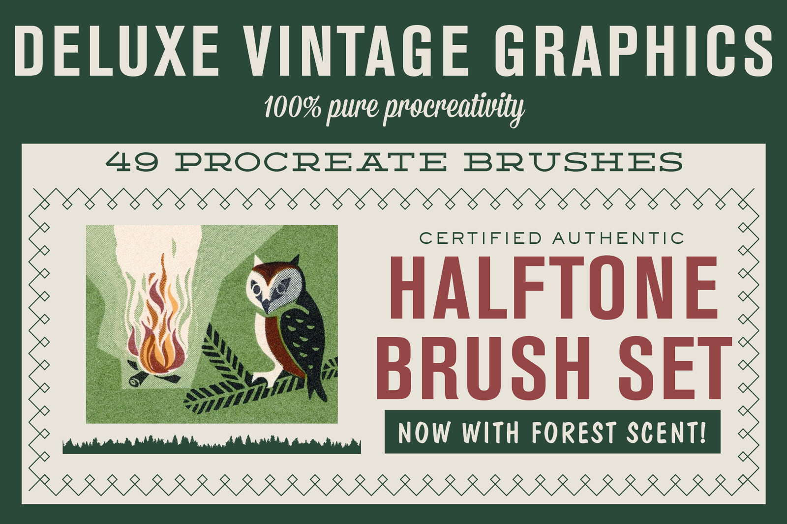 Vintage halftone brushes for Procreate