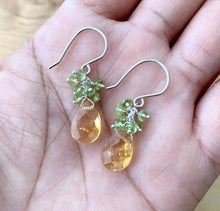 Load image into Gallery viewer, Citrine Earrings with Peridot Clusters. Sterling Silver Earrings.
