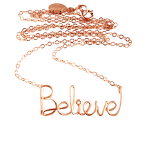 Load image into Gallery viewer, Rose Gold Believe Necklace. 14k Pink Gold Filled Believe Necklace. Faith Spiritual Religious Necklace. Gift Under 100