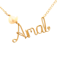 Load image into Gallery viewer, Custom Gold Name Necklace with Off White Freshwater Pearl. Personalized Pearl Name Necklace in 14k Gold. Script Name Brooklyn Necklace Pearl