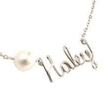 Load image into Gallery viewer, Pearl Name Necklace. Sterling Silver Name Necklace with Off White or Light Pink Freshwater Pearl. Custom Name Necklace w Large Real Pearl