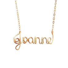 Load image into Gallery viewer, 14k Solid Gold Name Necklace. 14K Real Gold Custom Name Necklace. Personalized Real Gold Wire Script Name Necklace.