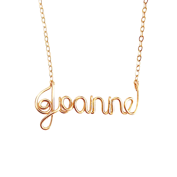 14k Solid Gold Name Necklace. 14K Real Gold Custom Name Necklace. Personalized Real Gold Wire Script Name Necklace.