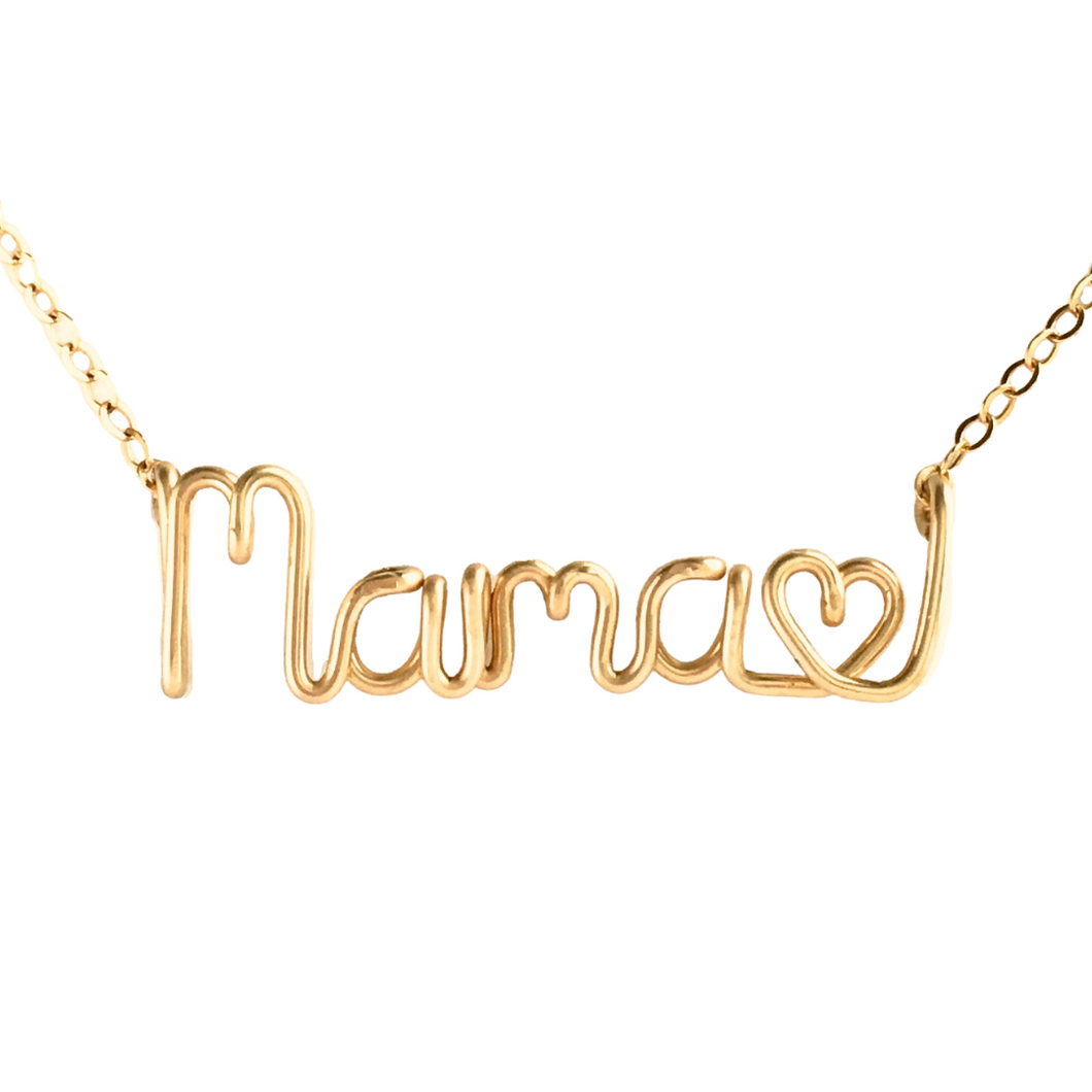 Mama Love Necklace. 14k Gold Filled Mama Heart Custom Wire Necklace