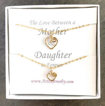 Load image into Gallery viewer, Mother Daughter Necklace Set. Mom Daughter Heart Necklaces. Mom to Be Gift. Push Present