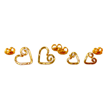 Load image into Gallery viewer, Mother Daughter Gold Earrings. 2 Pairs 14k Gold Heart Studs Set in Medium, Small. Push Present. Valentines Day