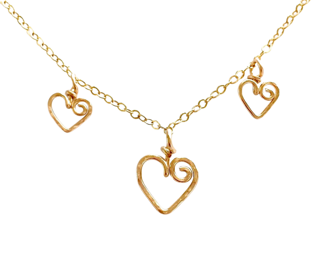 Mother Children Heart Charms Necklace. Mom Charm Necklace. 14k Gold Filled Multiple Hearts Charms Mother's Day Necklace