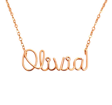 Load image into Gallery viewer, Name Necklace. 14k Solid Rose Gold Custom Personalized Name Necklace. Wire Name Necklace. 14k Rose Gold Script Name Necklace.
