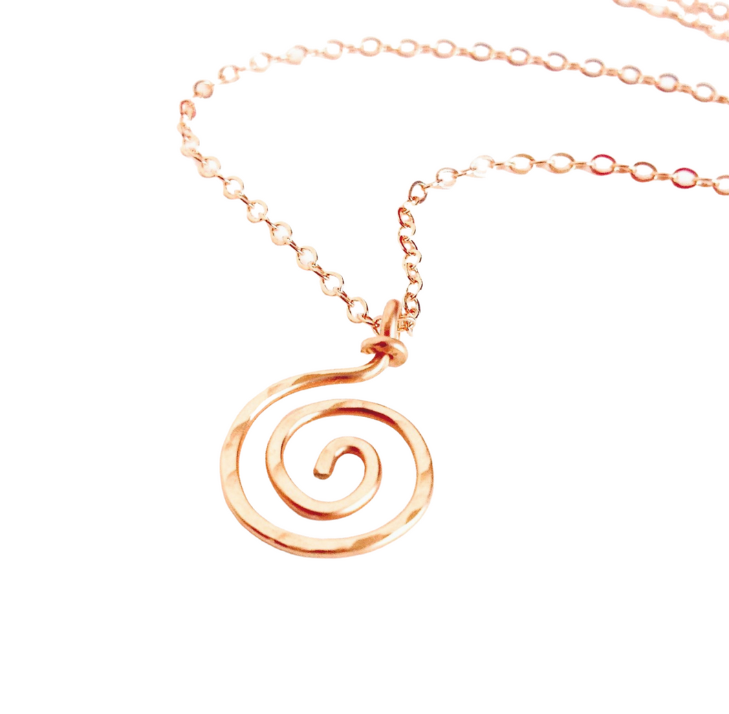 Rose Gold Spiral Pendant. 14k Solid Rose Gold spiral sun swirl necklace pendant. Real Rose Gold Circle Necklace.