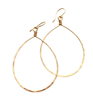 Load image into Gallery viewer, XLarge Tear Drop Hoop Earrings. Hammered Textured Shiny Tear Drop Silver, Gold, Rose Gold Hoop Earrings.